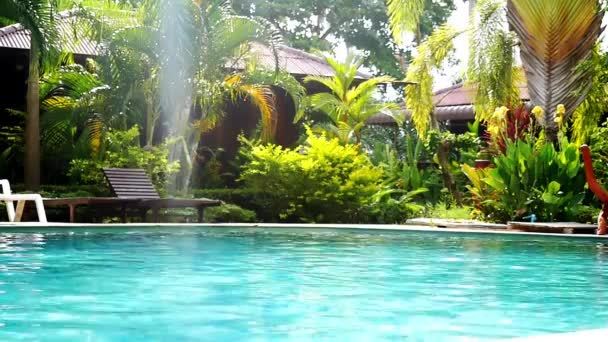 Swimming pool and palm trees in tropical garden with bamboo bungalow. paradise for tourists on sunny day with lens flare effects. slow motion. 1920x1080