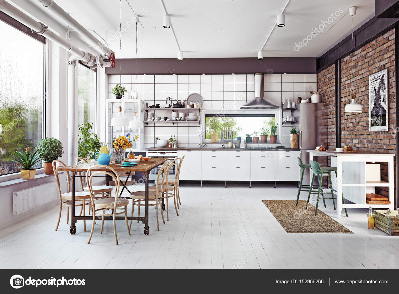 Modern Loft Kitchen Interior U2014 Stock Photo