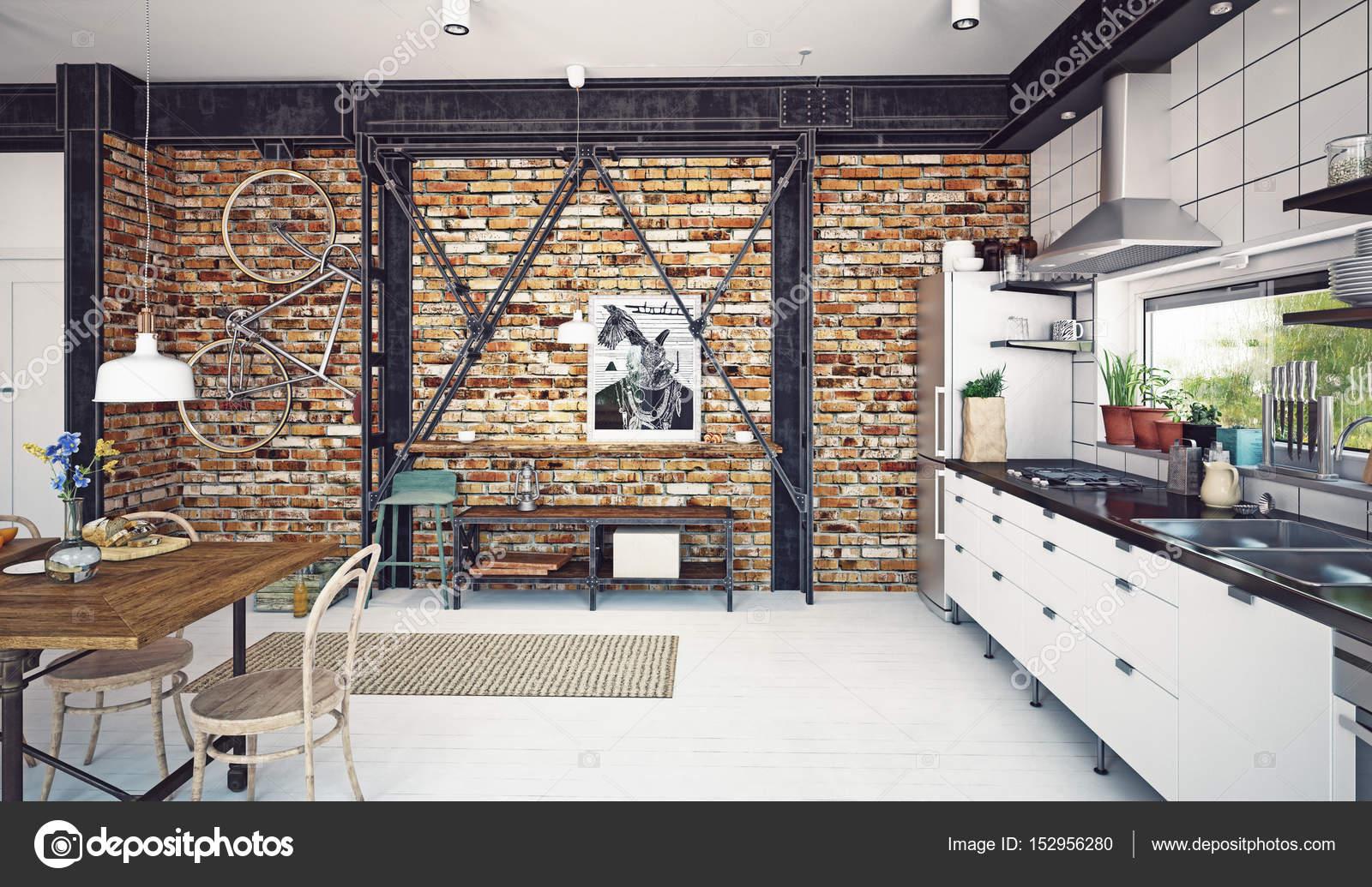 interior de cocina de loft modernos Fotos de Stock vicnt2815
