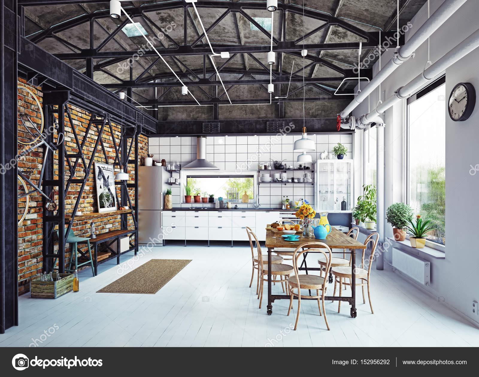 Intérieur de cuisine loft moderne u photographie vicnt