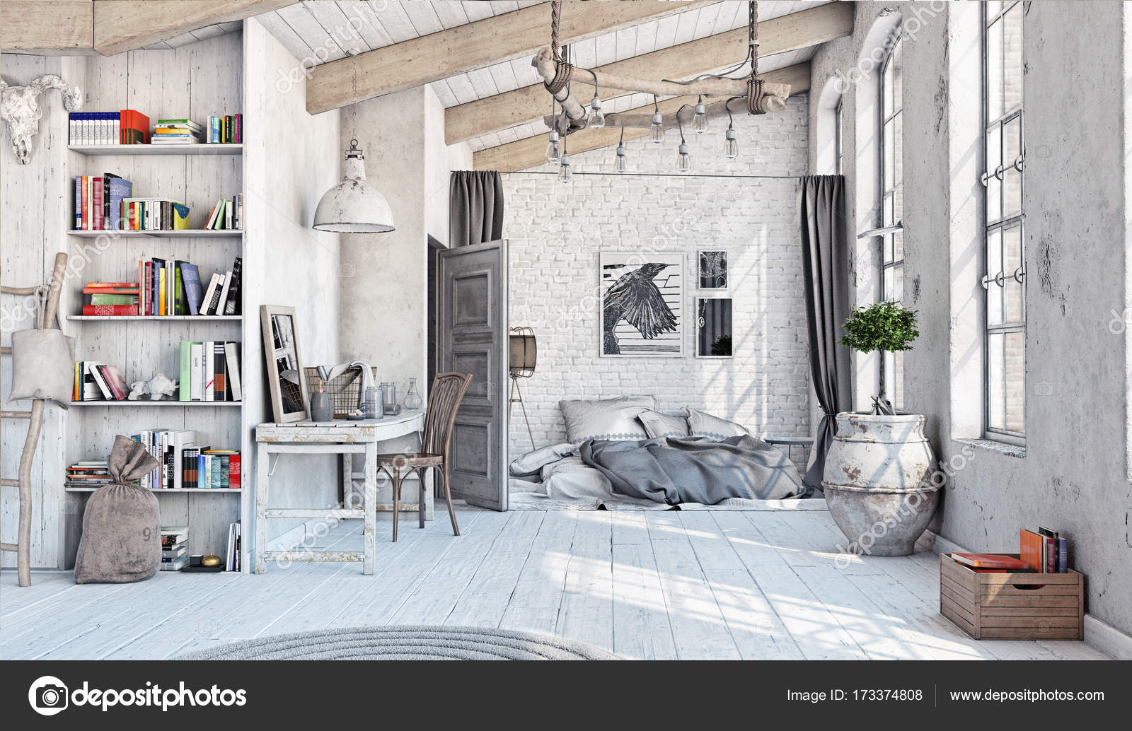 Scandinavische slaapkamer interieur — Stockfoto © vicnt2815 #173374808
