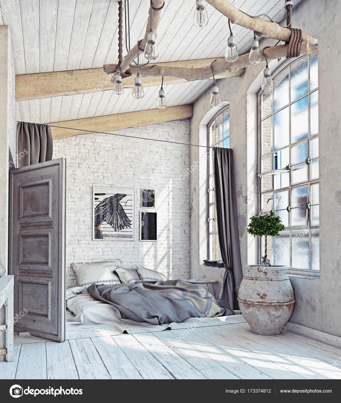 Skandinavische Schlafzimmer Innenraum — Stockfoto © vicnt2815 #173374812