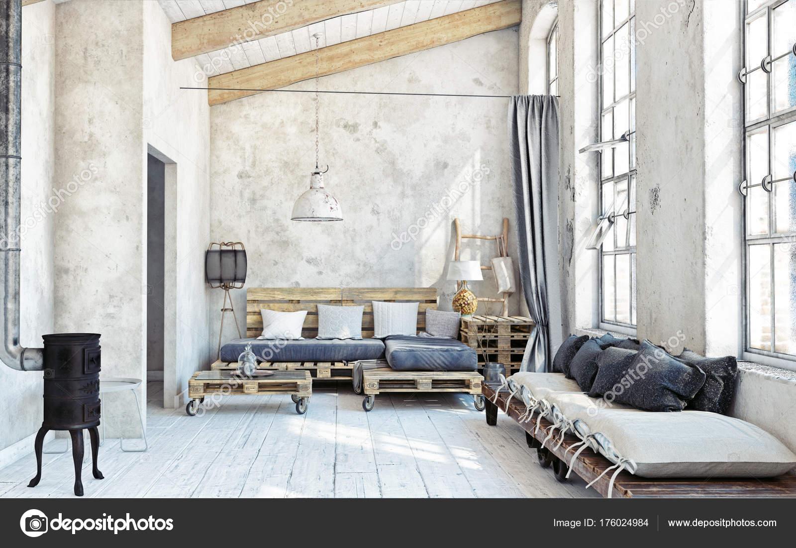 Beroemd Zolder Woonkamer Interieur Pallet Meubelen Afbeelding — Stockfoto  ZO24