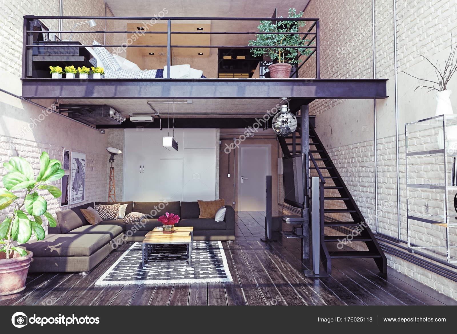 Modernes Loft Innenarchitektur Zeitgenössischen Stil Rendering ...