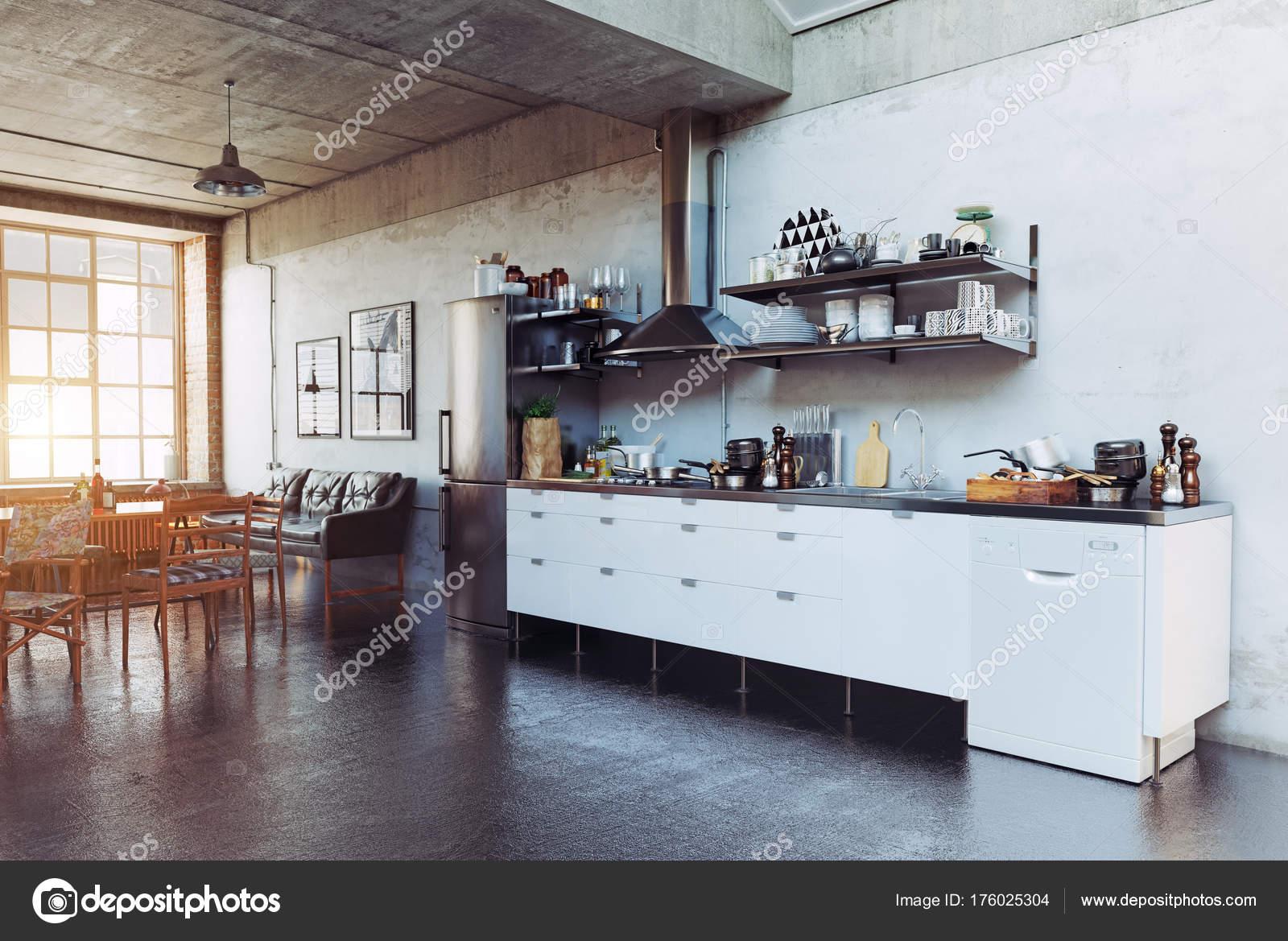 Moderne Loft Keuken Interieur Concept Rendering — Stockfoto ...