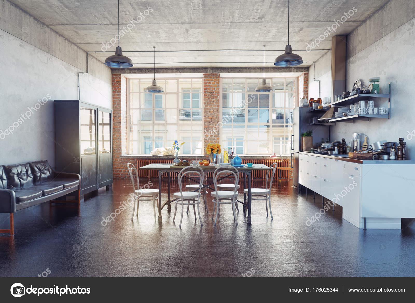 Modernes Loft Küche Interieur Rendering Konzept — Stockfoto ...