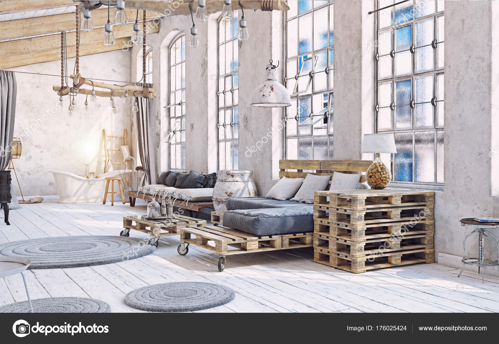 Zolder Woonkamer Interieur Pallet Meubelen Afbeelding — Stockfoto ...