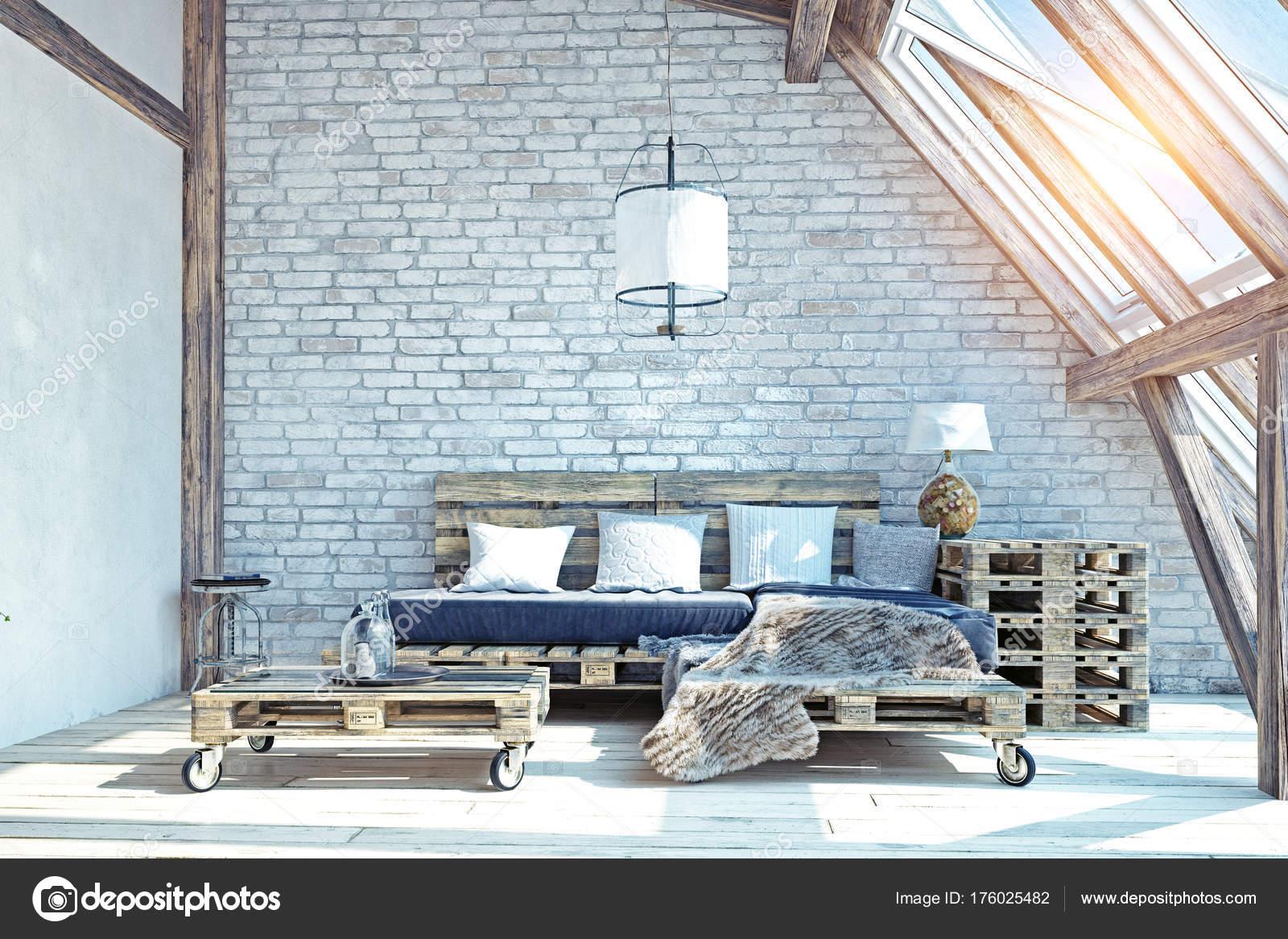 Woonkamer Op Zolder : Zolder woonkamer interieur pallet meubelen afbeelding u2014 stockfoto
