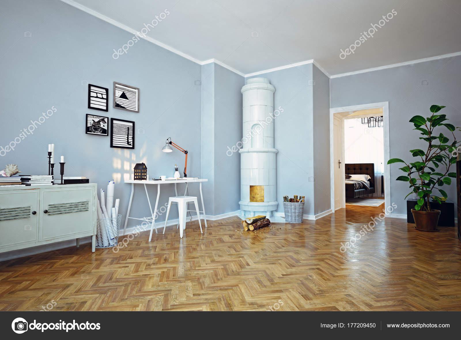 Modernes Apartment Interieur Mit Klassischen Schwedischen Ofen ...