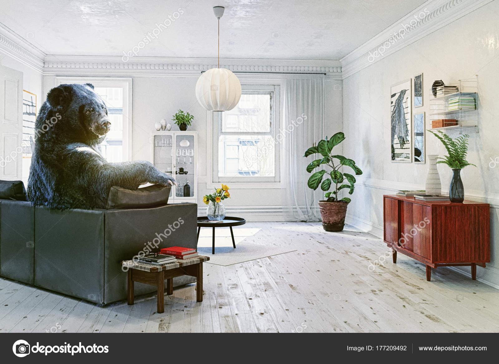 Russian Bear Relaxing Room Sofa Watching Soccer Creative ...
