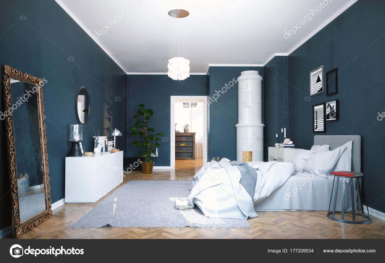 modern appartement interieur met klassieke zwedenkachel scandinavisch design style rendering stockfoto