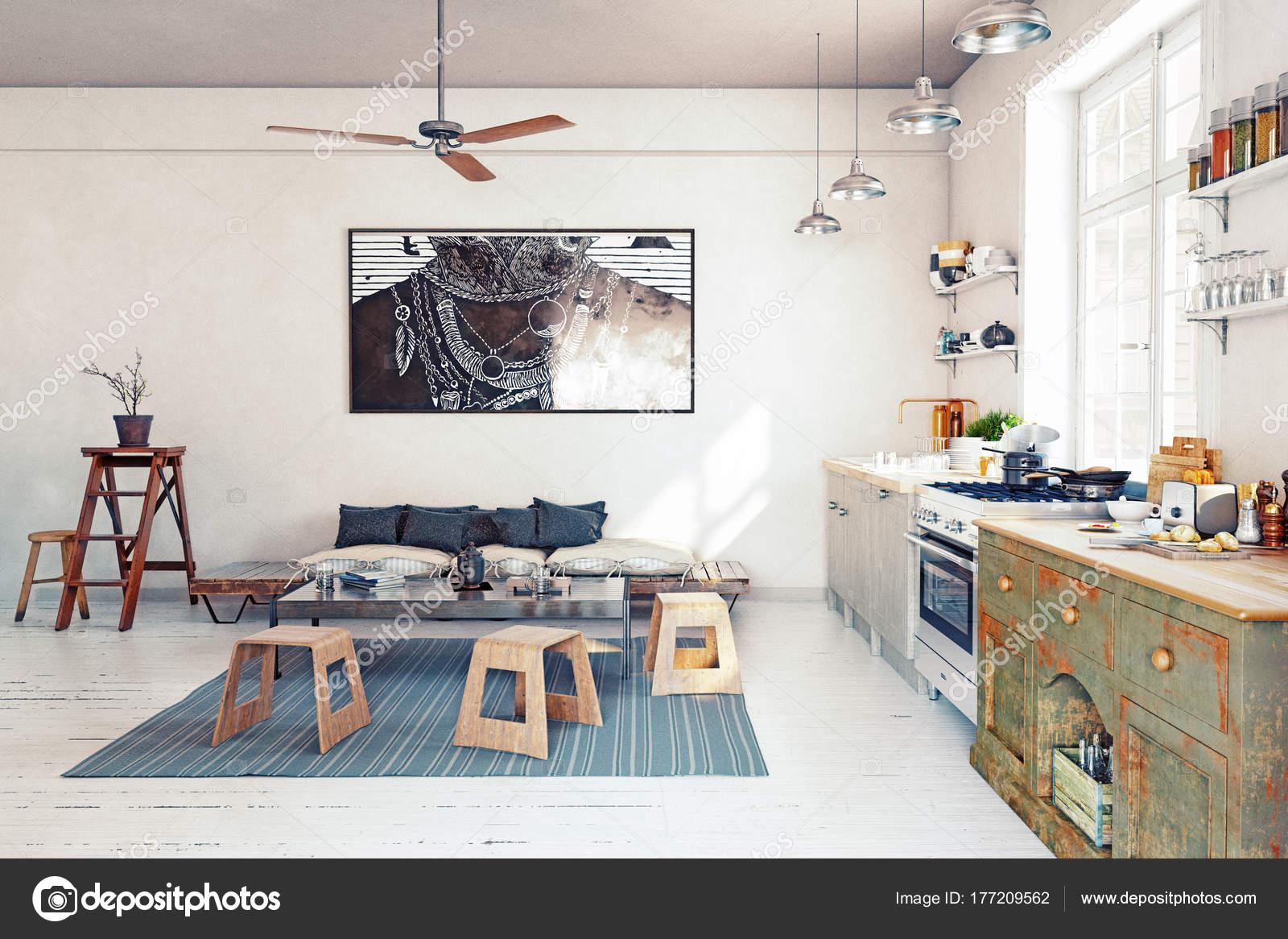 Cocina Moderna Diseño Interiores Render — Fotos de Stock © vicnt2815 ...
