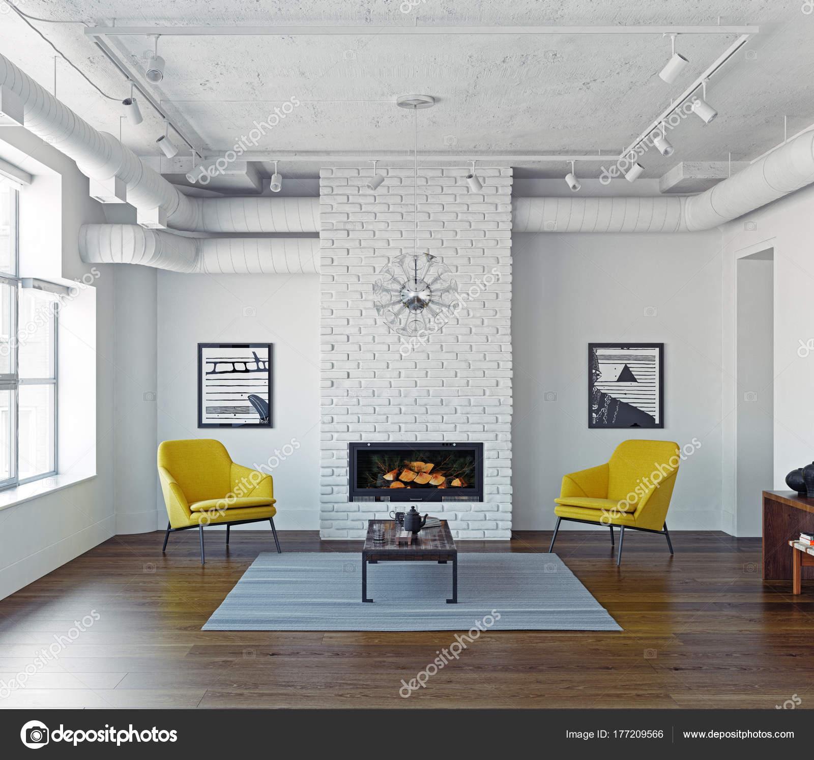 Moderne Wohnzimmer Interieur Mit Gelben Stühlen Und Kamin Rendering U2014  Stockfoto