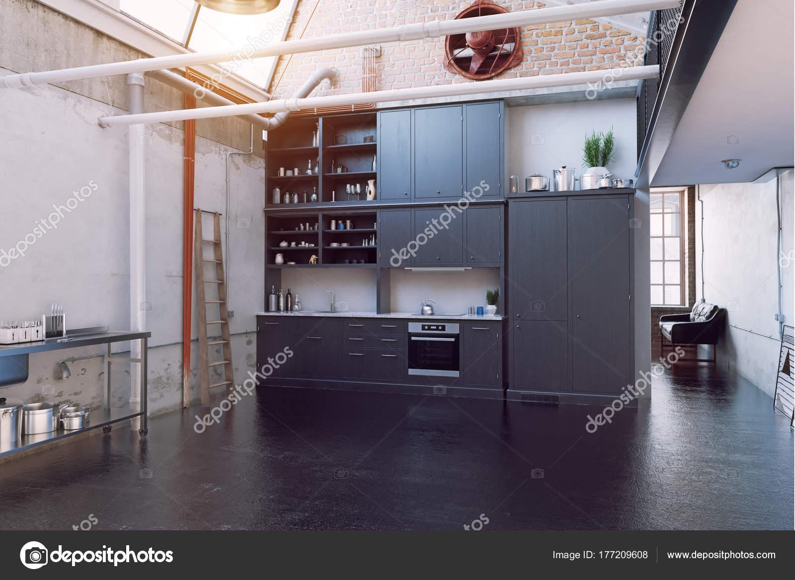 Moderne Schwarze Loft Küche Interieur Konzept — Stockfoto ...