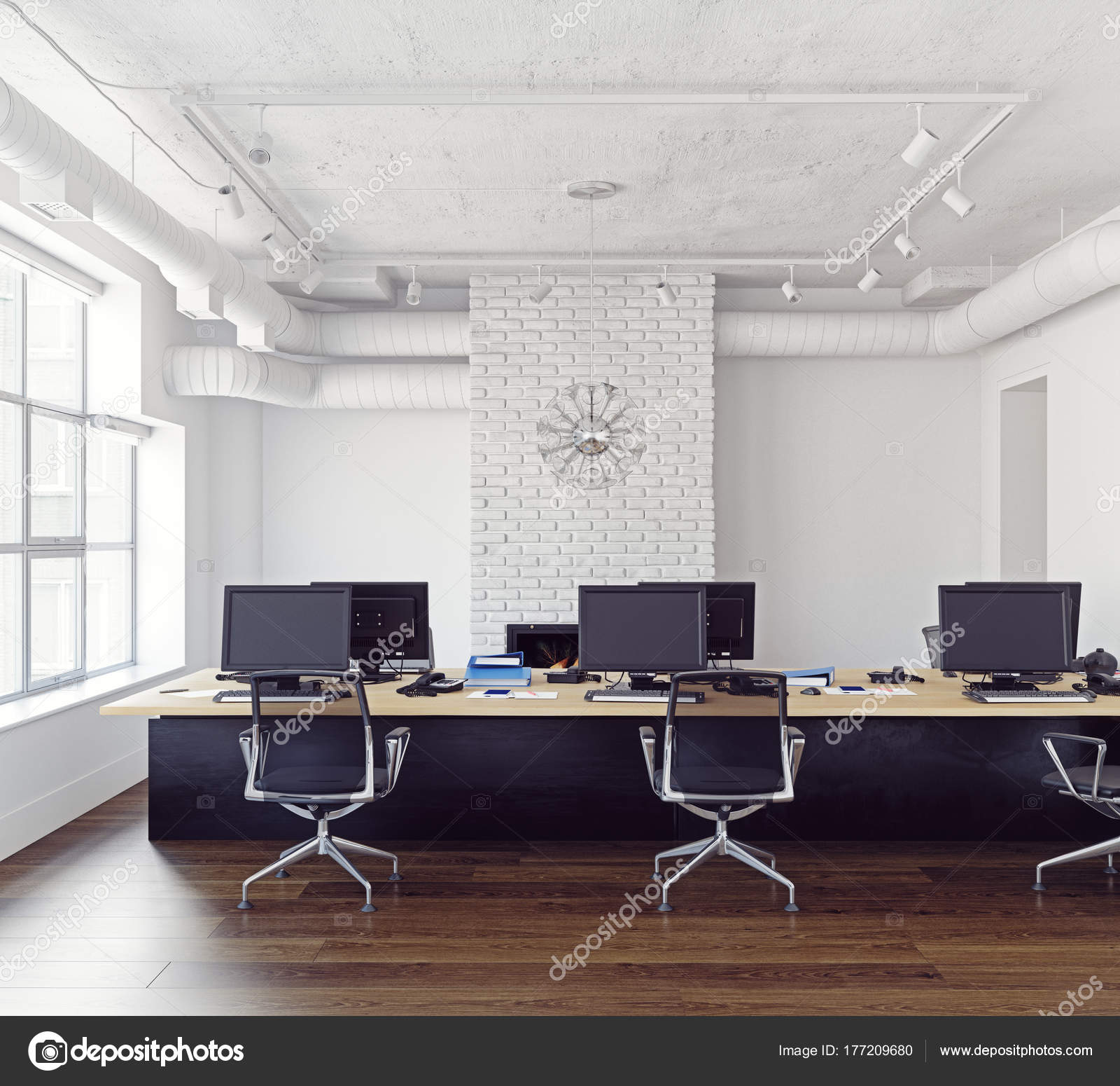 Modern Loft Office Interior Contemporary Business Concept Rendering ...