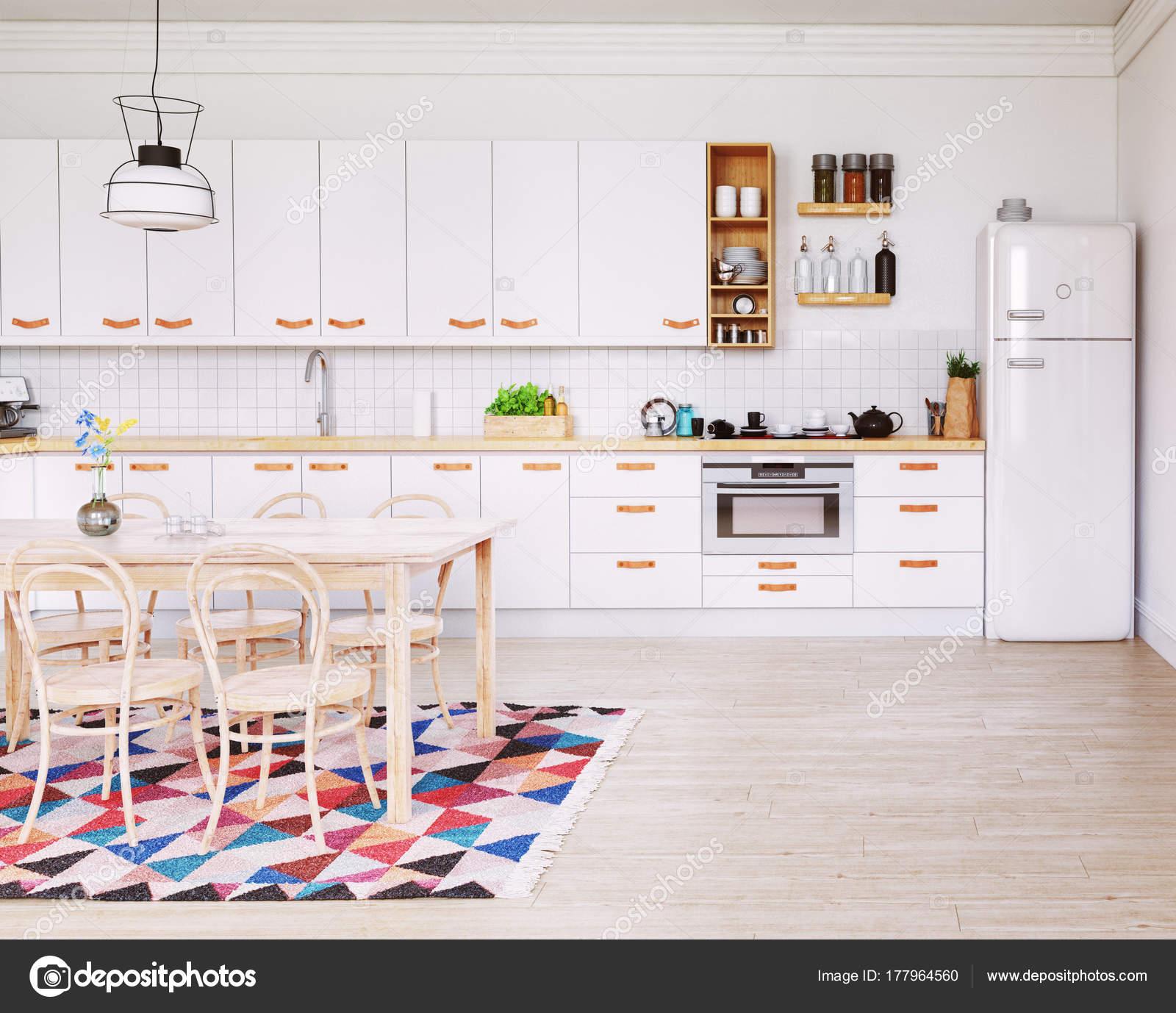 Moderne Küche Interieur Design Skandinavischen Stil Rendering ...