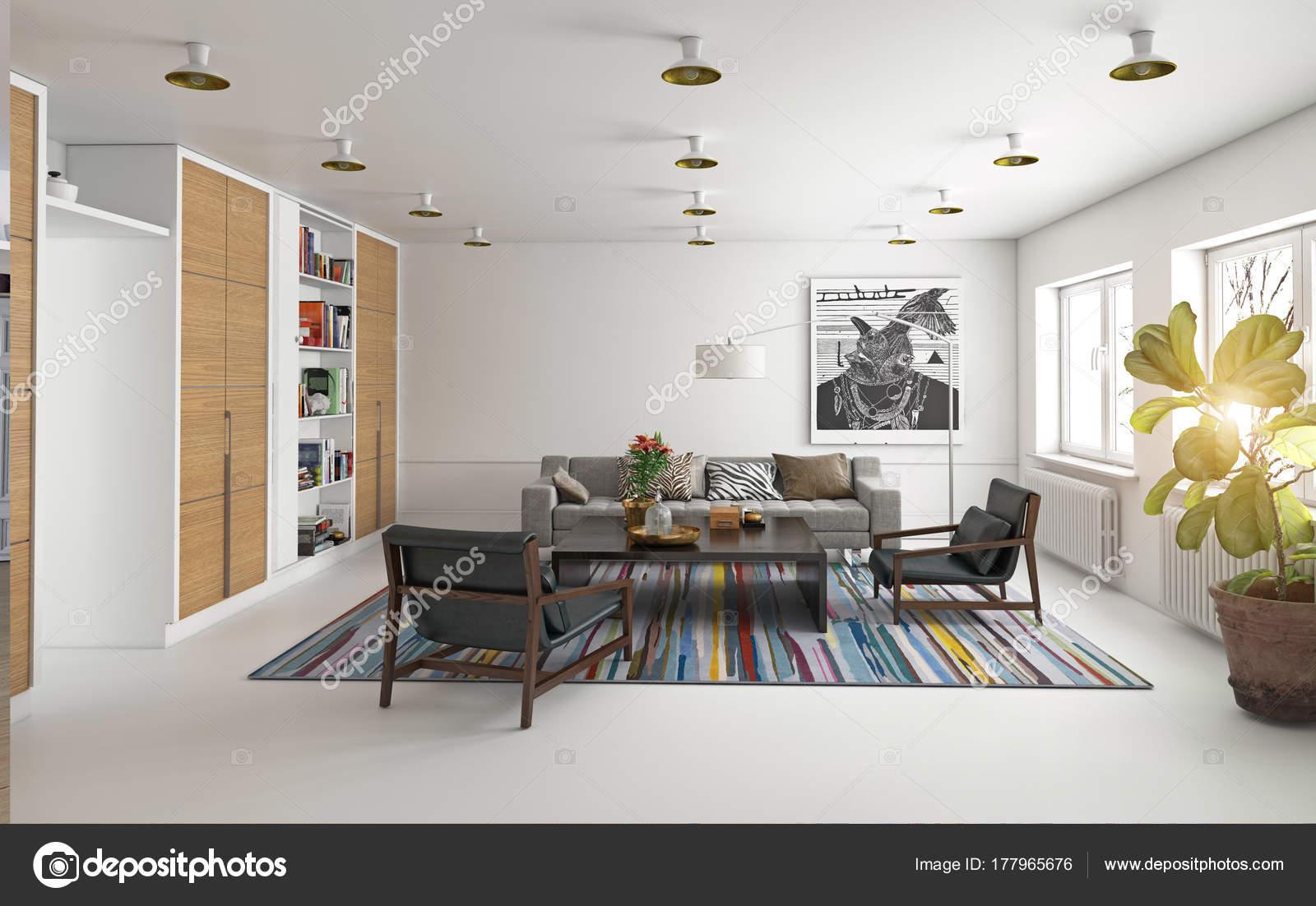 Moderne Woonkamer Ontwerp Rendering Interieurconcept — Stockfoto ...