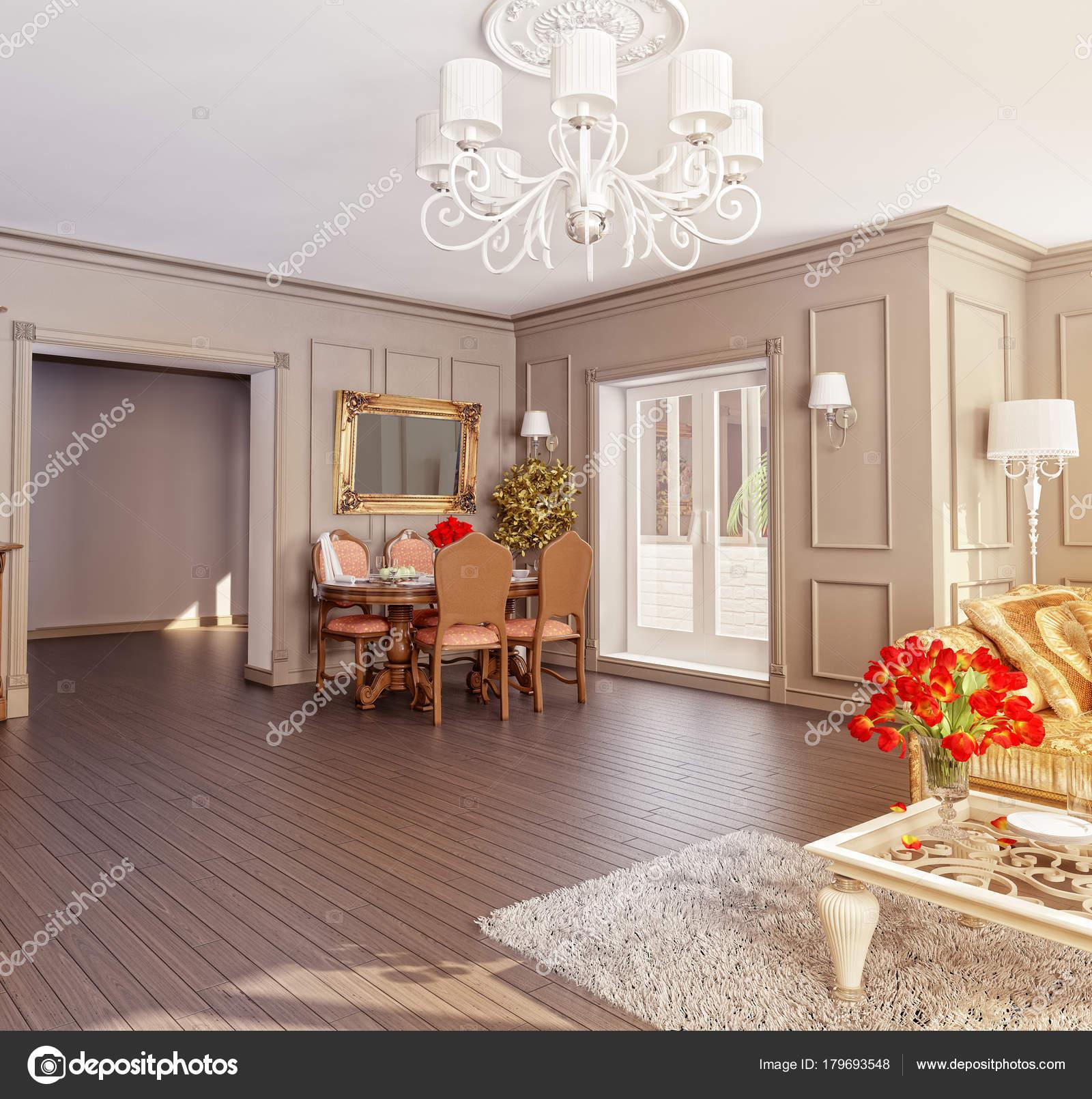 Modern Klassiek Interieur Rendering Lichte Kleuren — Stockfoto ...
