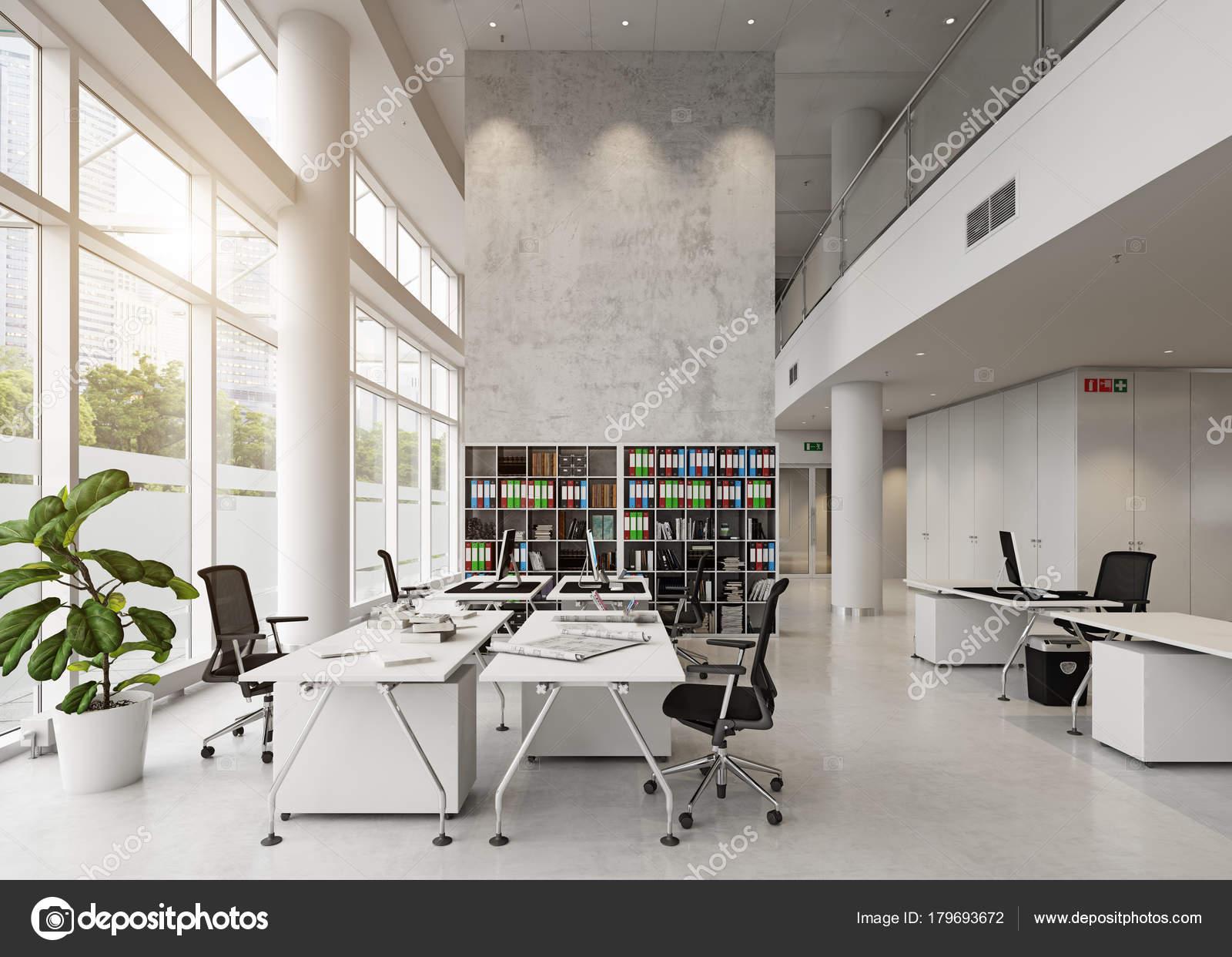 Moderne Büroeinrichtung Gebäude Rendering Konzept — Stockfoto ...