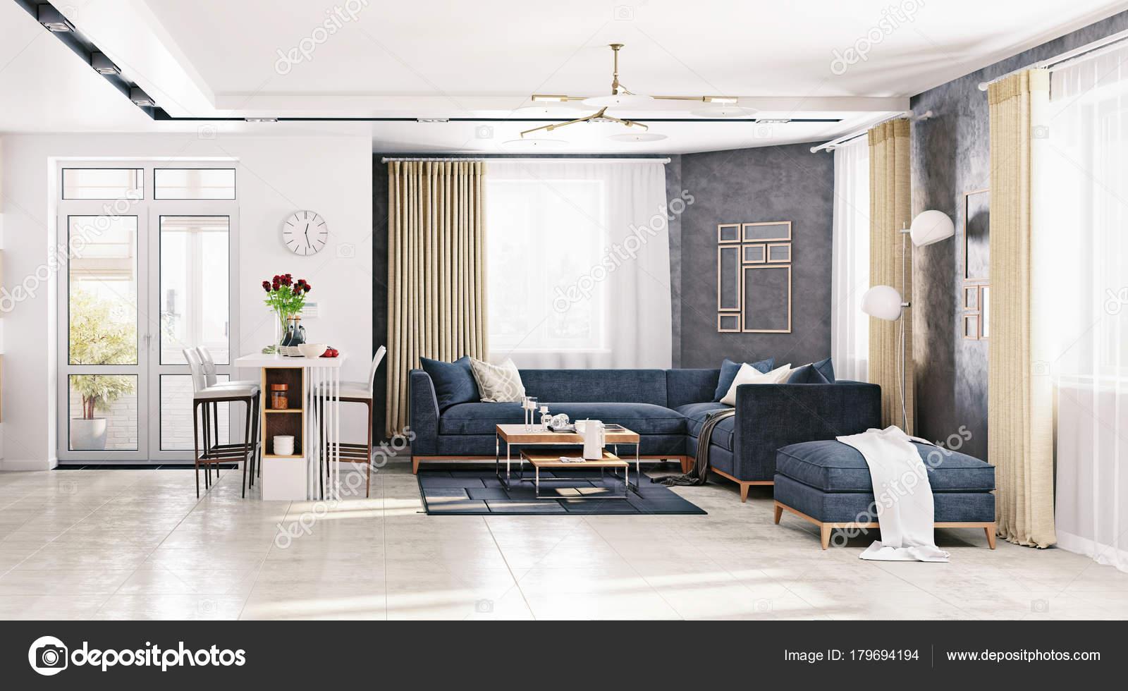 Moderne Wohnung Wohnzimmer Rendering Illustration — Stockfoto ...