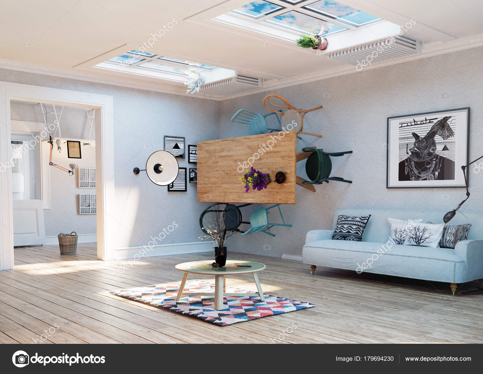 vreemd ondersteboven kamer interieur illustratie creatief concept idee stockfoto