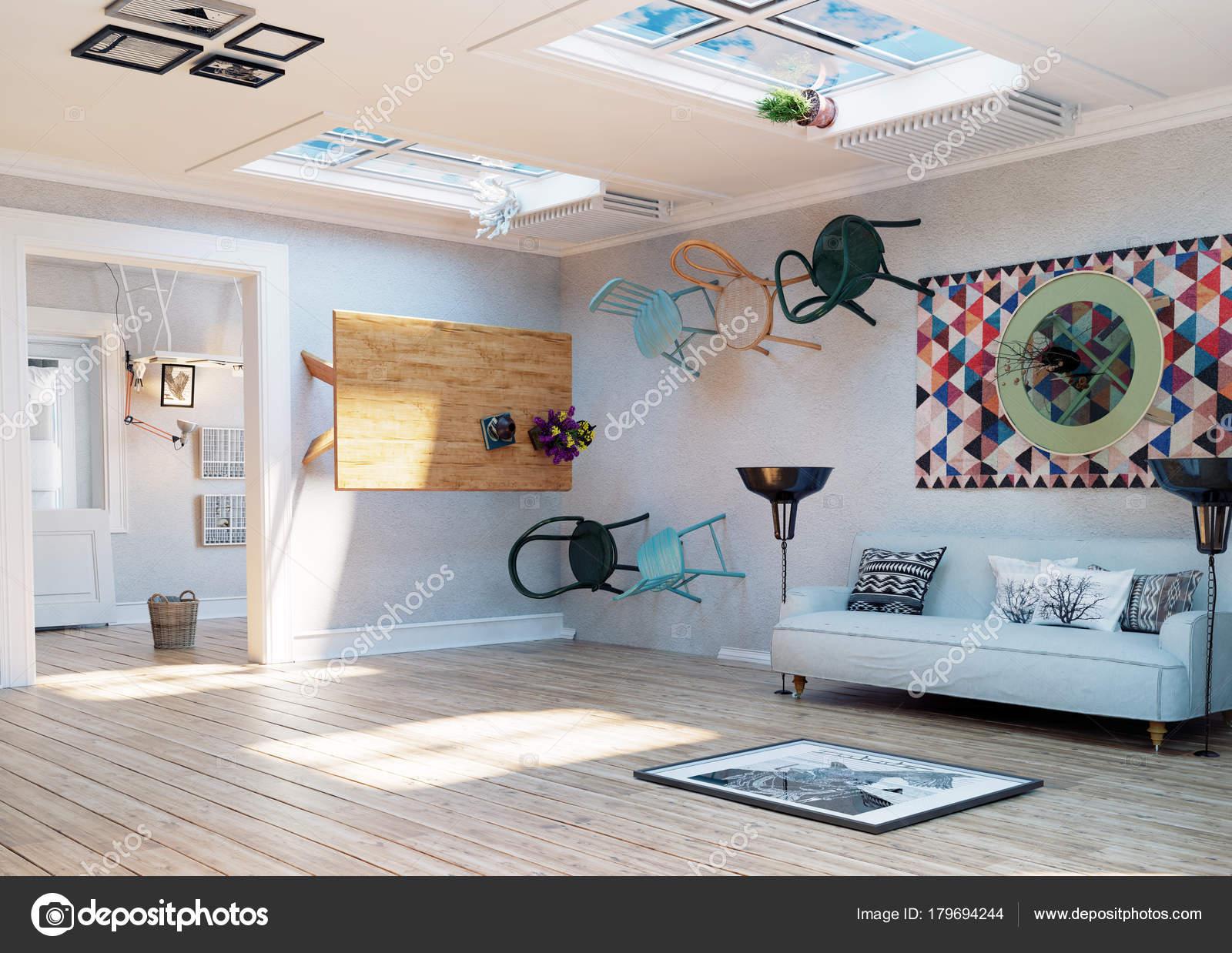 Vreemd Ondersteboven Kamer Interieur Illustratie Creatief Concept ...