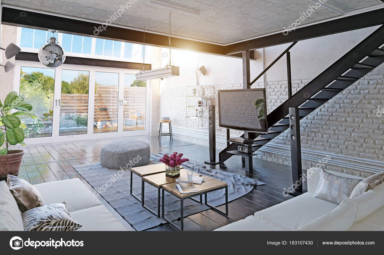 Modernes Loft Wohnzimmer Interieur — Stockfoto © vicnt2815 #183107430