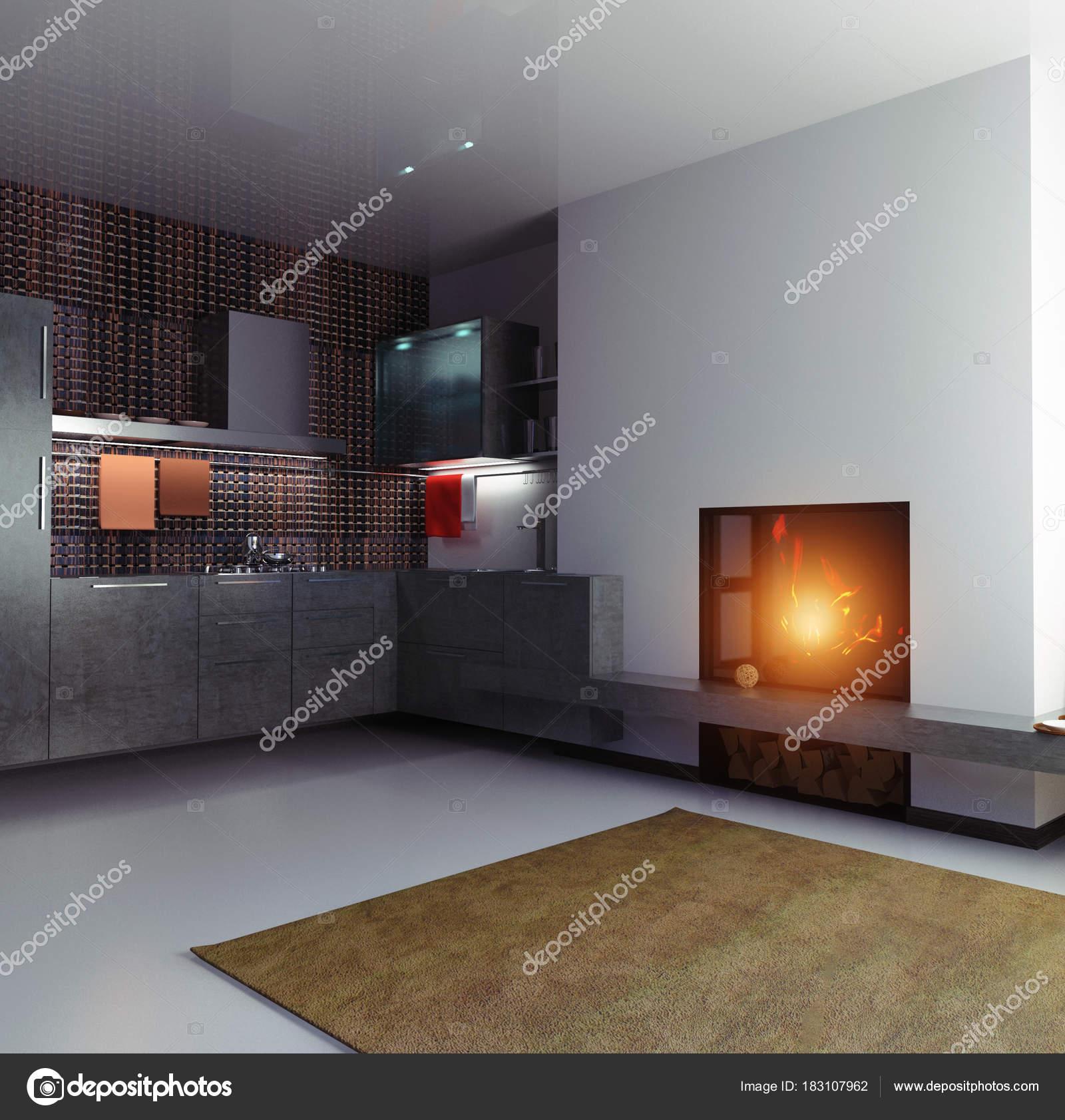 Interior Cozinha Moderna Cores Escuras Stock Photo Vicnt2815