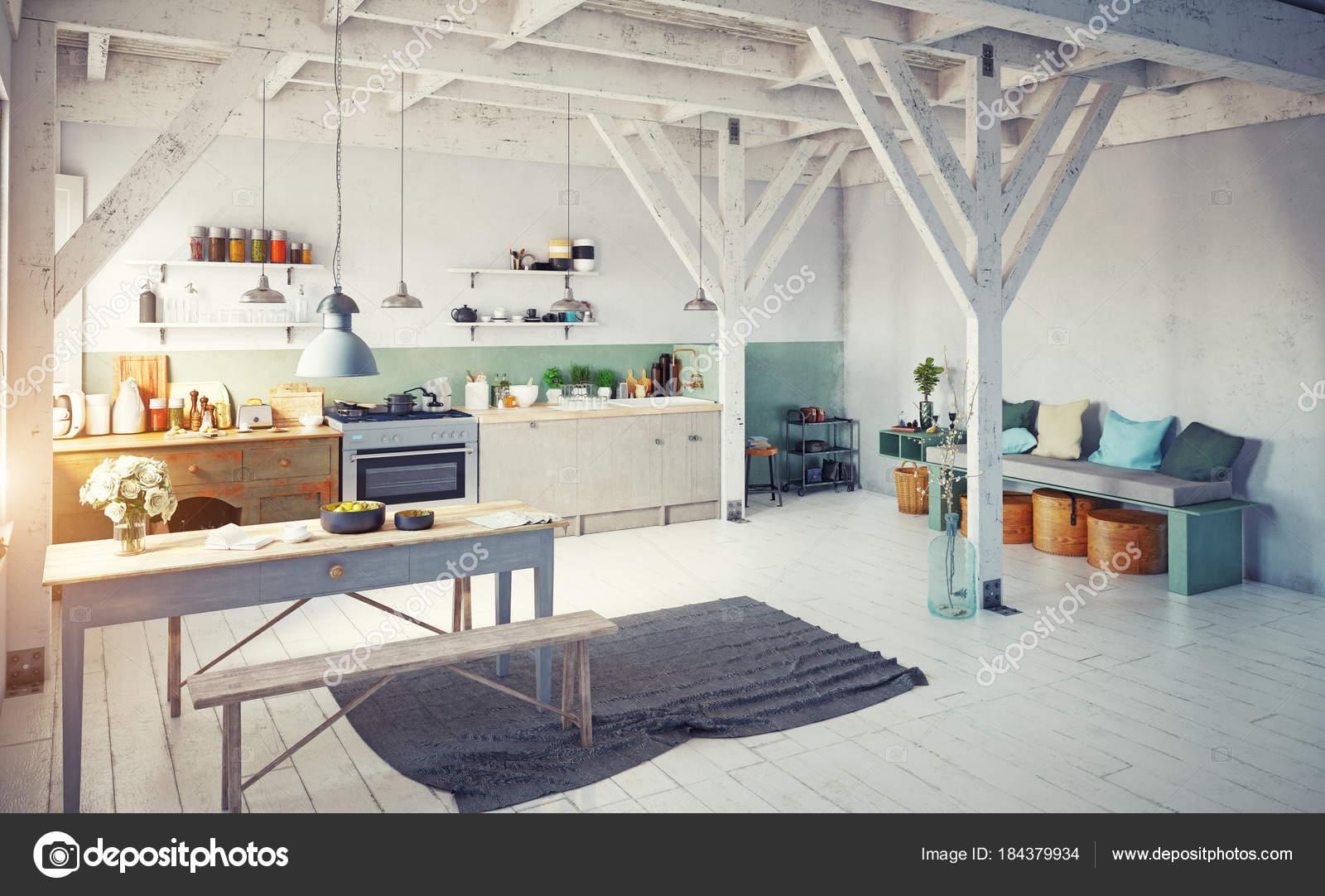 Vista Esquina Interior Cocina Estilo Vintage Con Mesa Banco Con ...