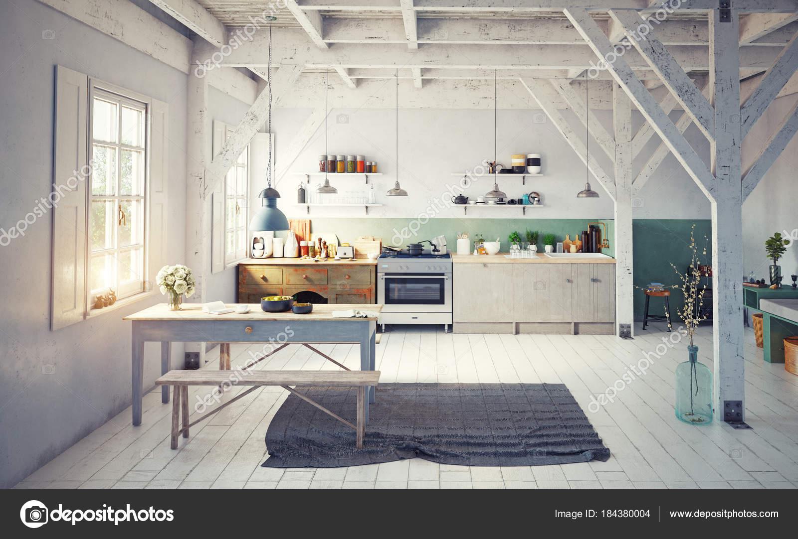 Vorderansicht Des Vintage Stil Küche Interieur Mit Holztisch Der ...