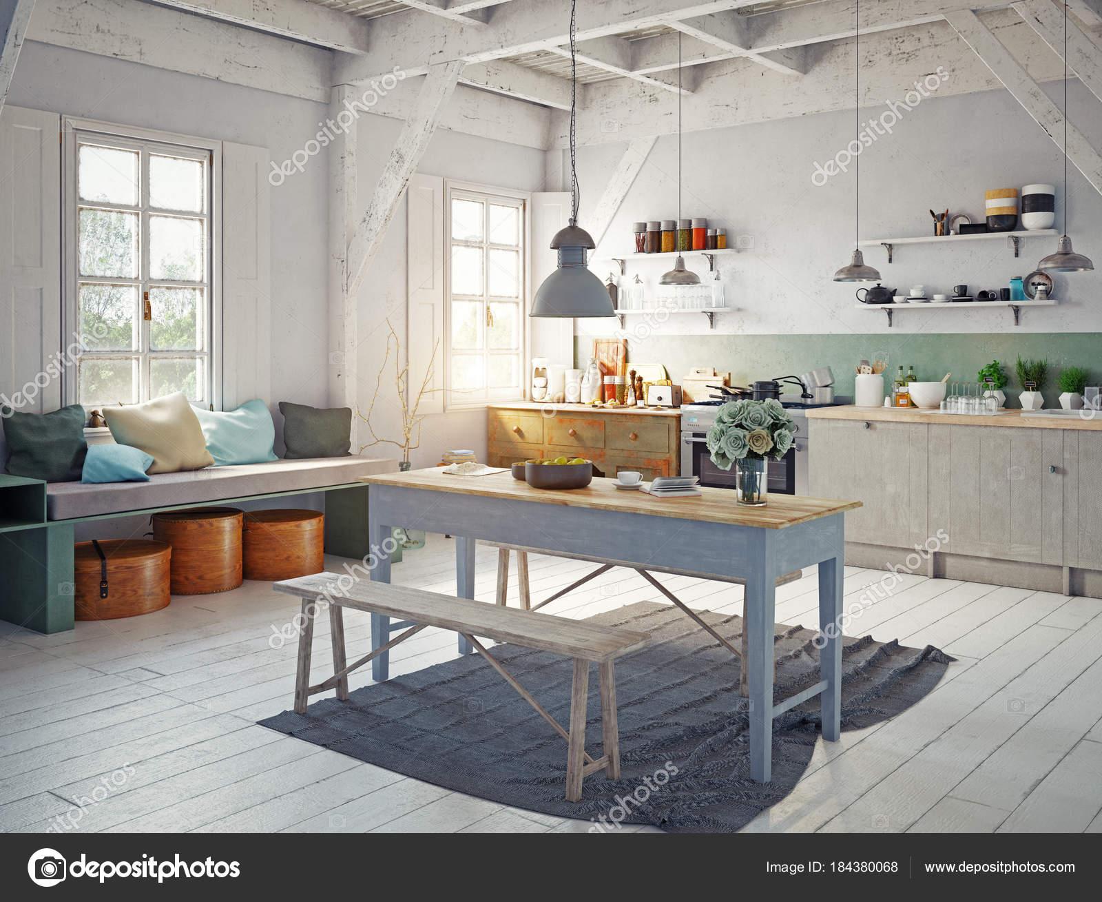 Vista Esquina Interior Cocina Estilo Vintage Con Mesa Madera Medio ...