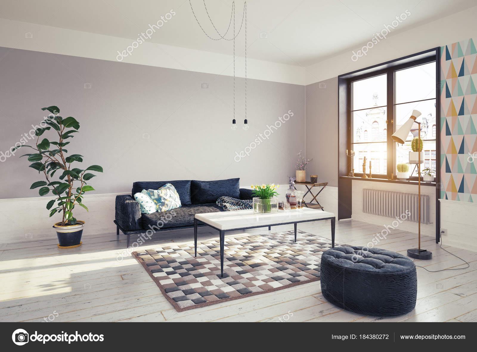 Corner View Modern Living Room Design Grey Walls Big Window — Stock ...