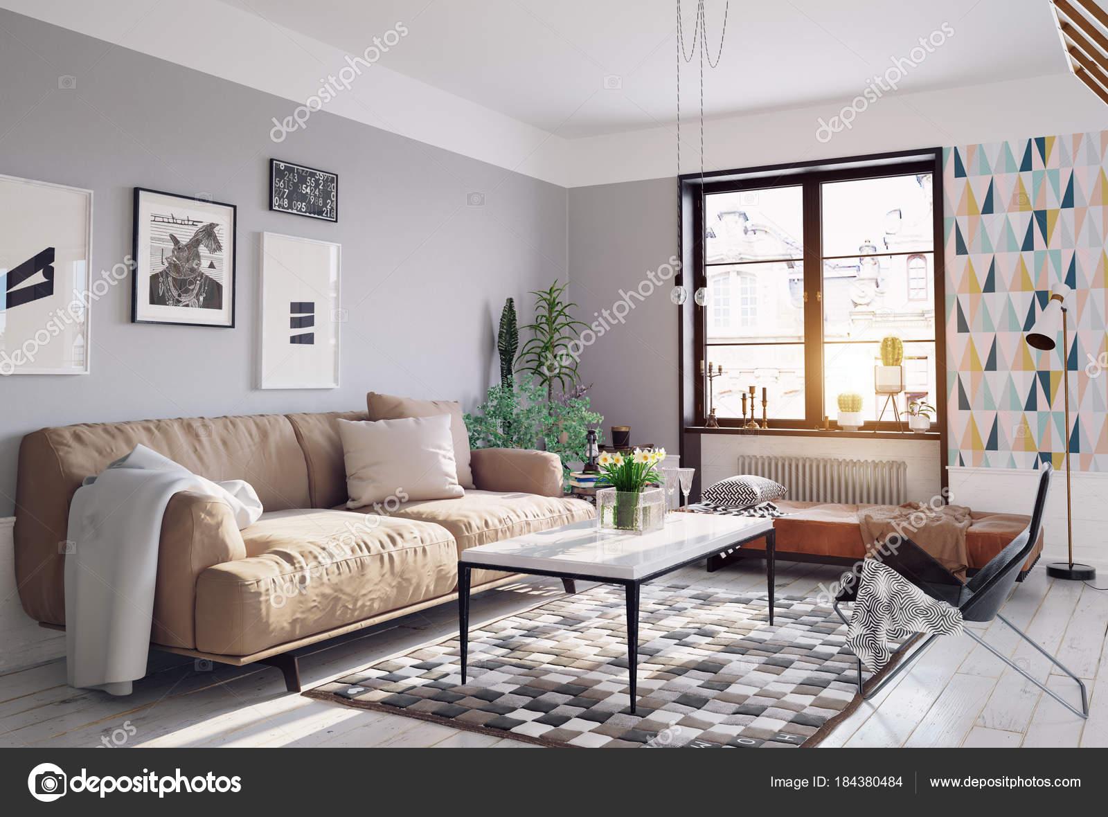 Moderne Wohnzimmer Design Mit Bildern Aus Einem Anderen Blickwinkel Auf U2014  Stockfoto