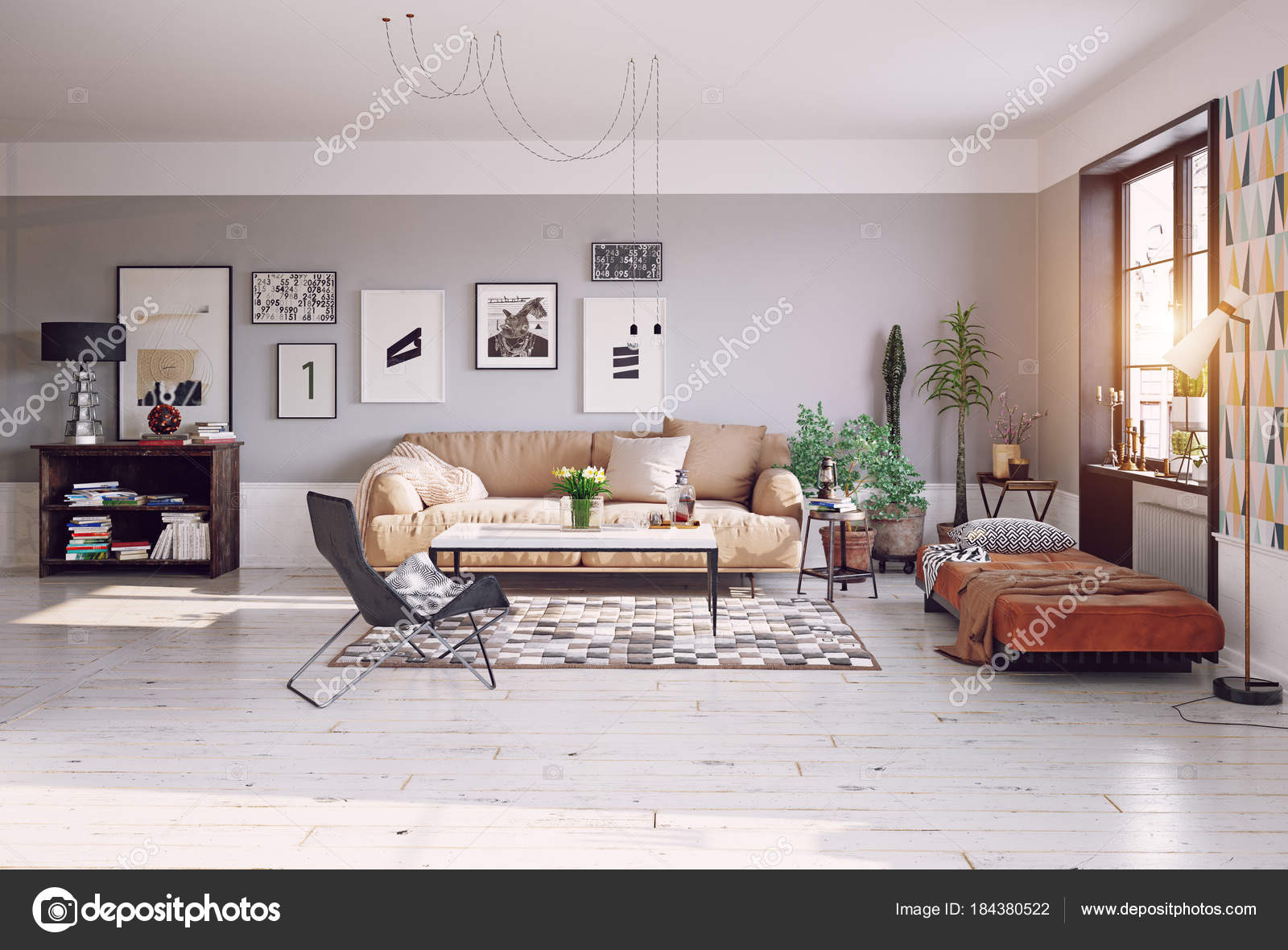 Front View Modern Living Room Design Wooden Commode Pictures Grey U2014 Stock  Photo