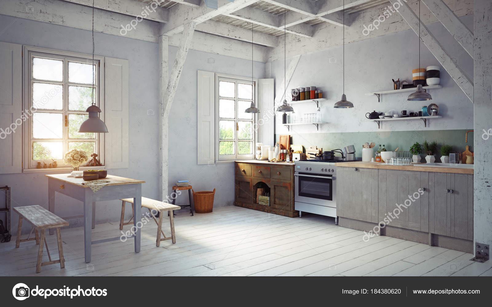 Der Vintage Stil Küche Interieur Mit Holztisch Der Nähe Von ...