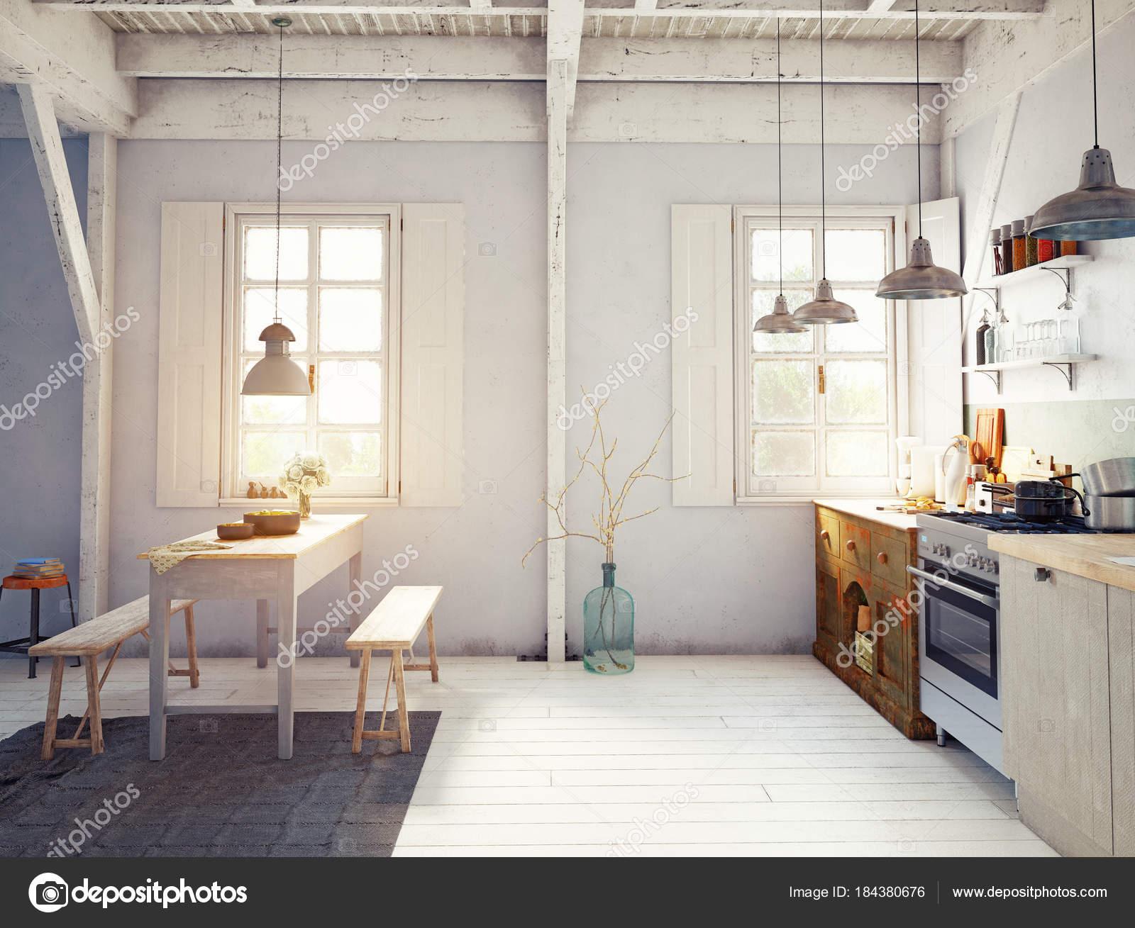 Unglaublich Küche Vintage Dekoration Von Vorderansicht Des Stil Küche Interieur Mit Holztisch