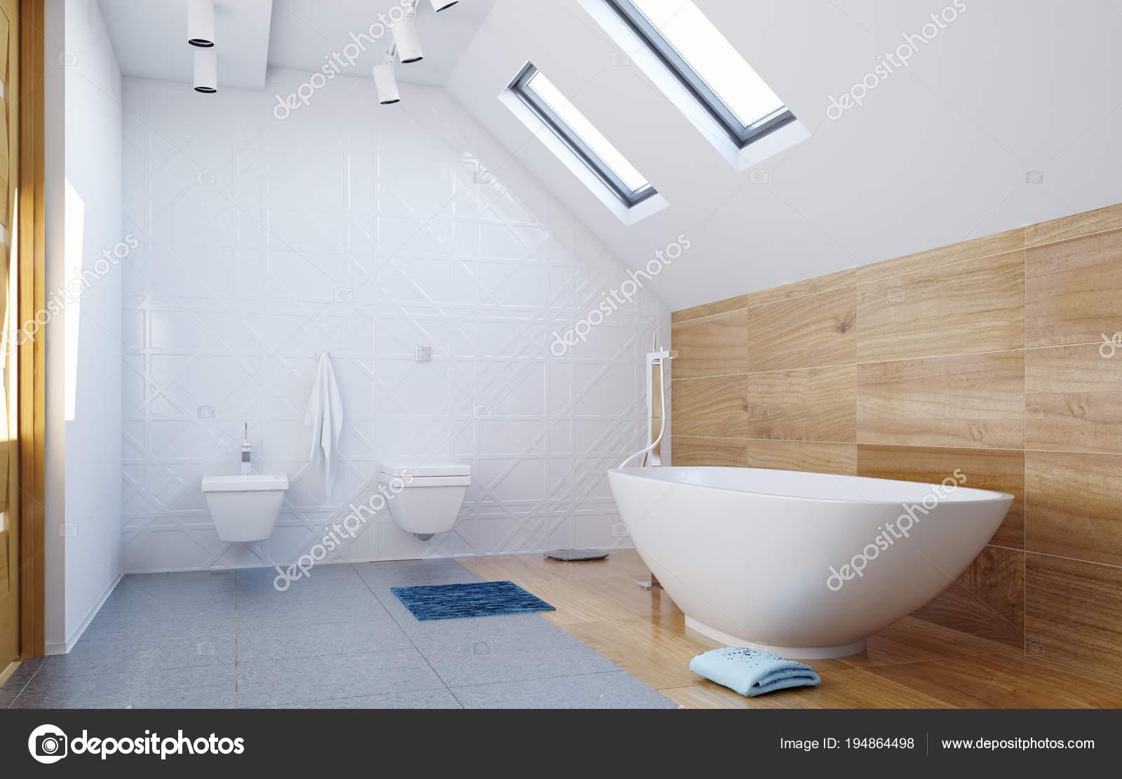 Moderne Dachgeschoss Badezimmer Interieur Mit Hölzernen Wand  Und Grau. 3D  Illustration Konzept U2014 Foto Von Vicnt2815