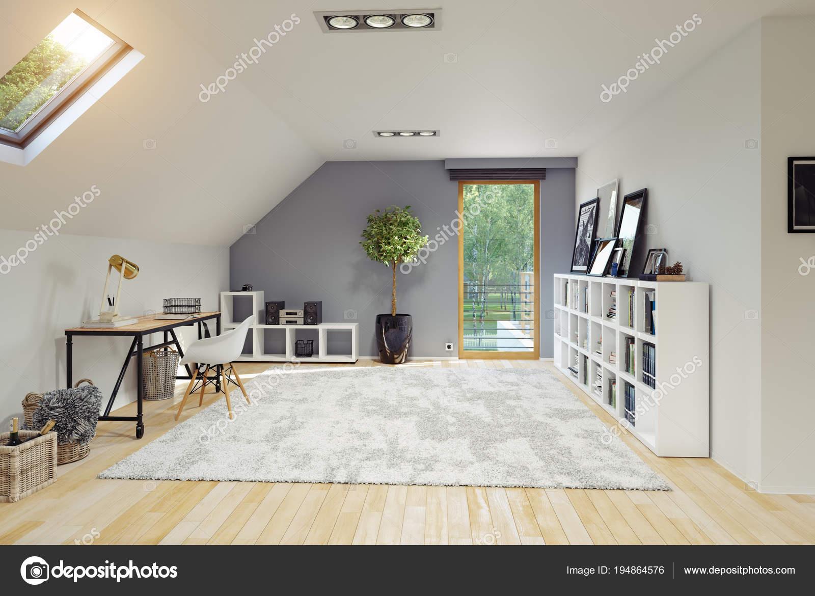 Moderne Zimmer Dachgeschoss Interieur Mit Grauen Wand Rendering ...