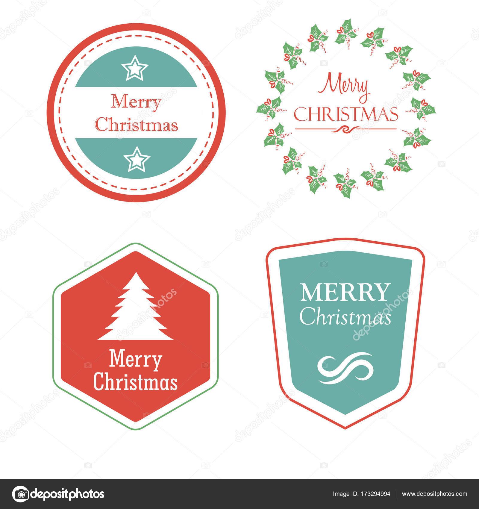 Etiketten Frohe Weihnachten.Frohe Weihnachten In Urlaub Etiketten Mit Weihnachtsbaum Sterne