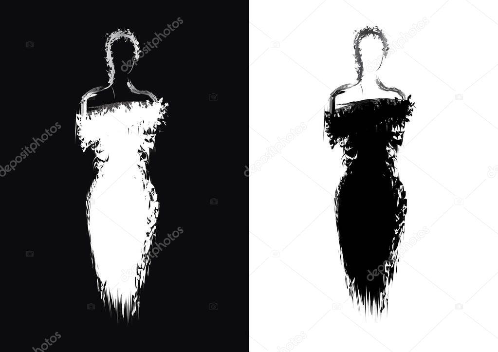 Silueta De Mujer En Vestido De