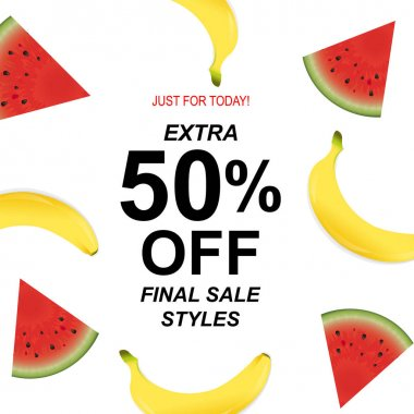 Summer Sale Poster With Banana And Watermelon