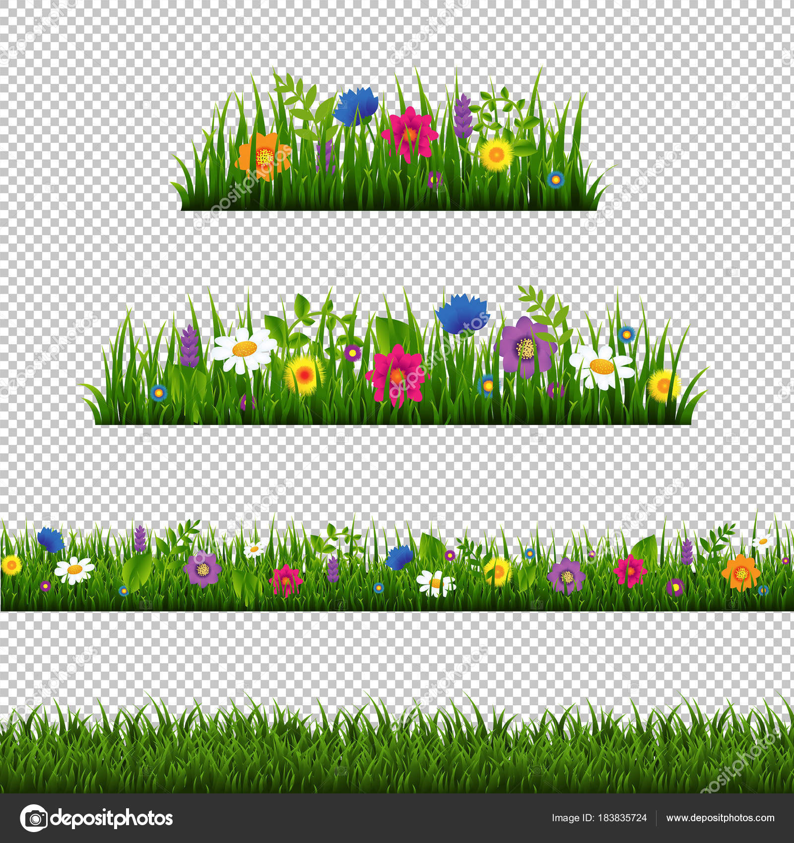 grass border no background illustration grass border flower collection isolated transparent background gradient mesh vector stock