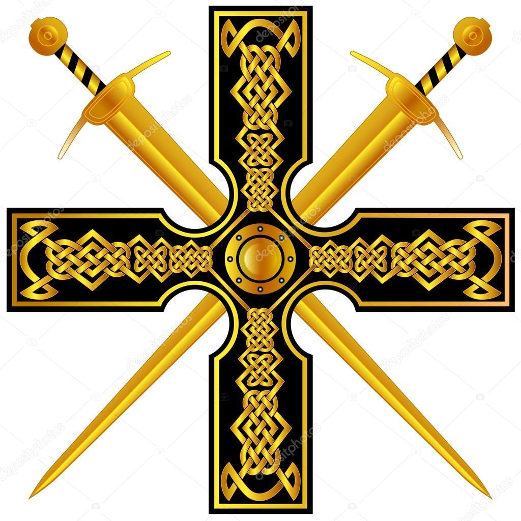 Croix Celtique Avec Or Et Epees Image Vectorielle 1rudvi C 127538392