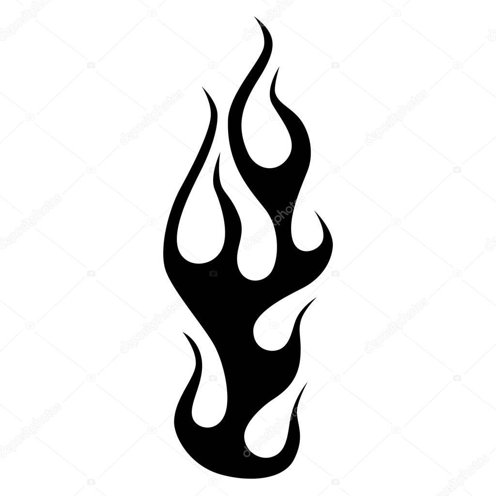 Element De Conception De Tatouage Simple Flamme Image Vectorielle