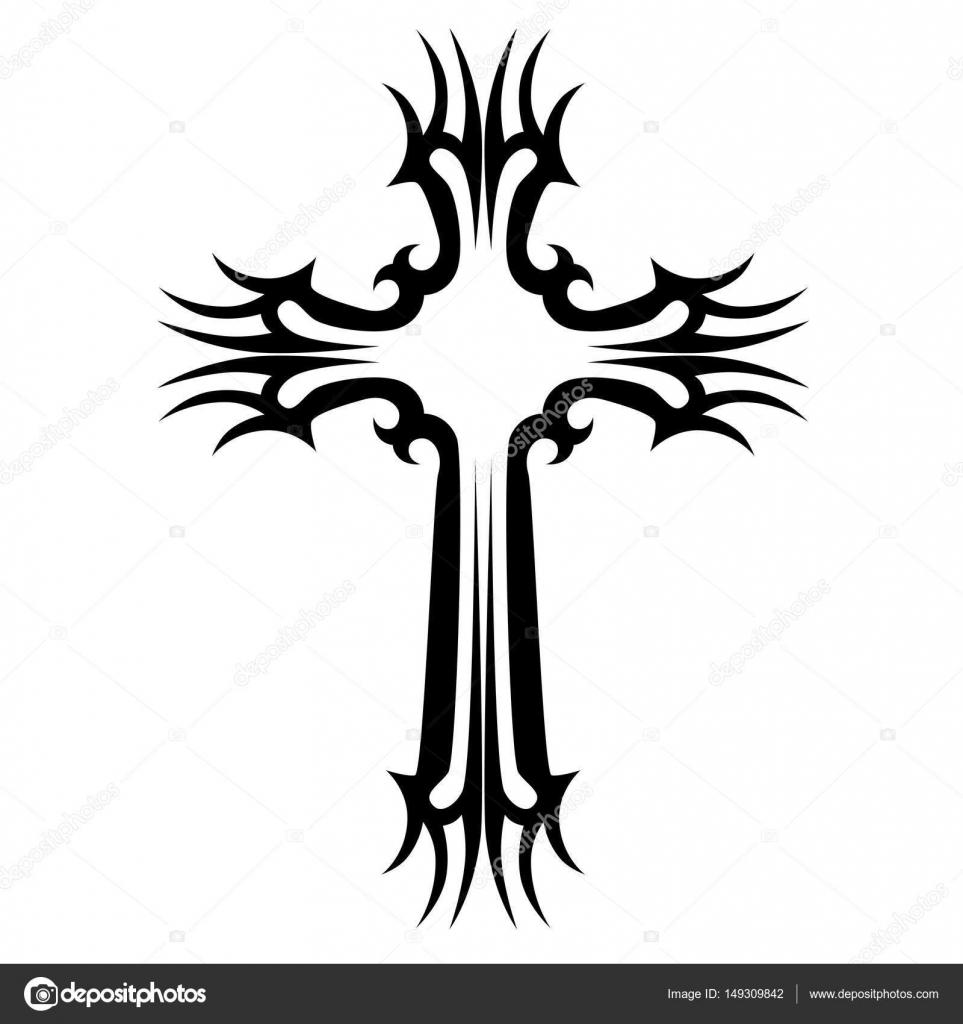 Tatuaje Tribal Cruz Diseños Esbozo Vectorial Aislado De Un Tatuaje Arte Tatuaje Tribal 149309842