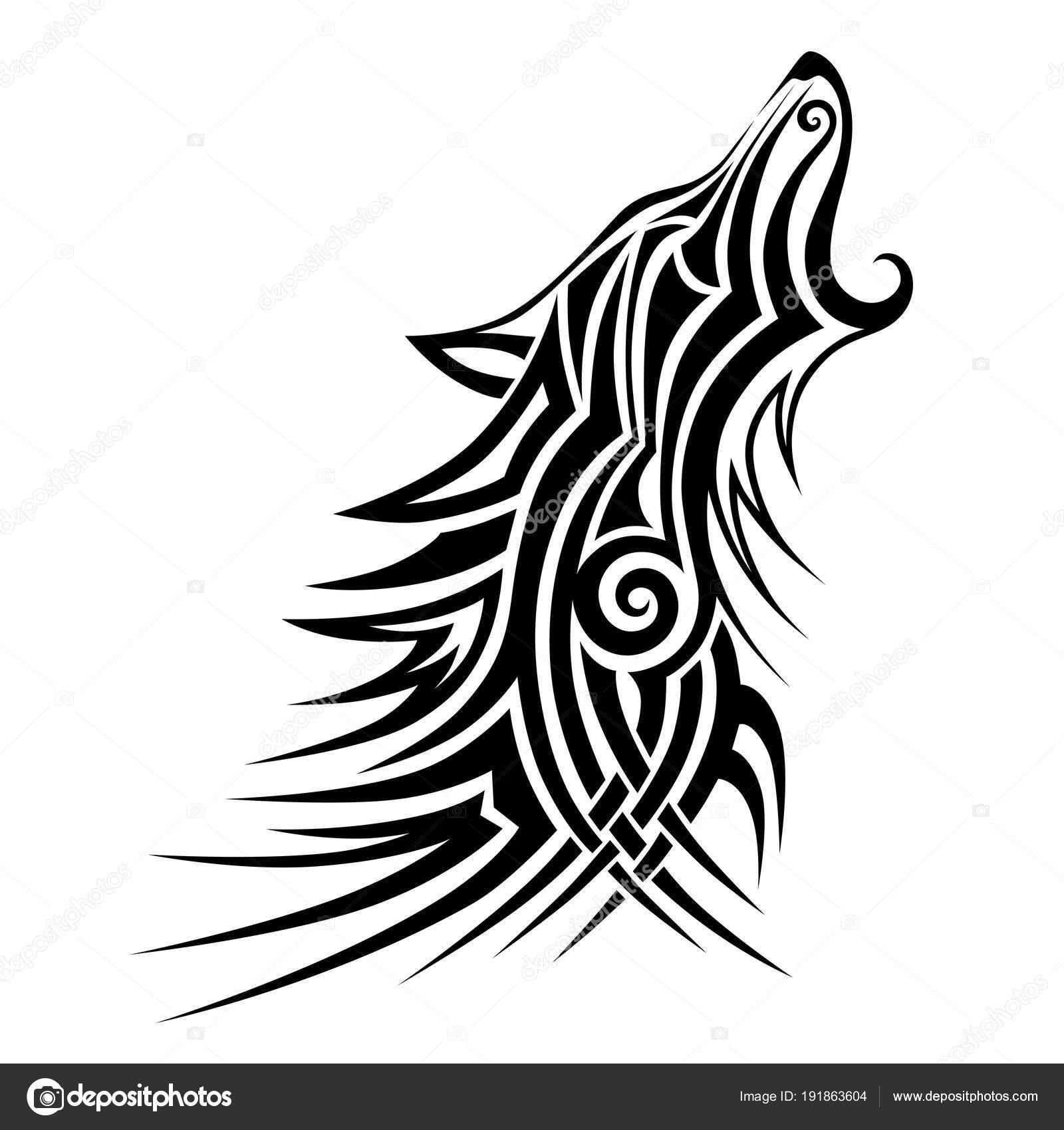 1c7c44f5ef6ce Tribal Wolf Tattoo Black Design Vector Art Idea Sketch Isolated — Stock  Vector