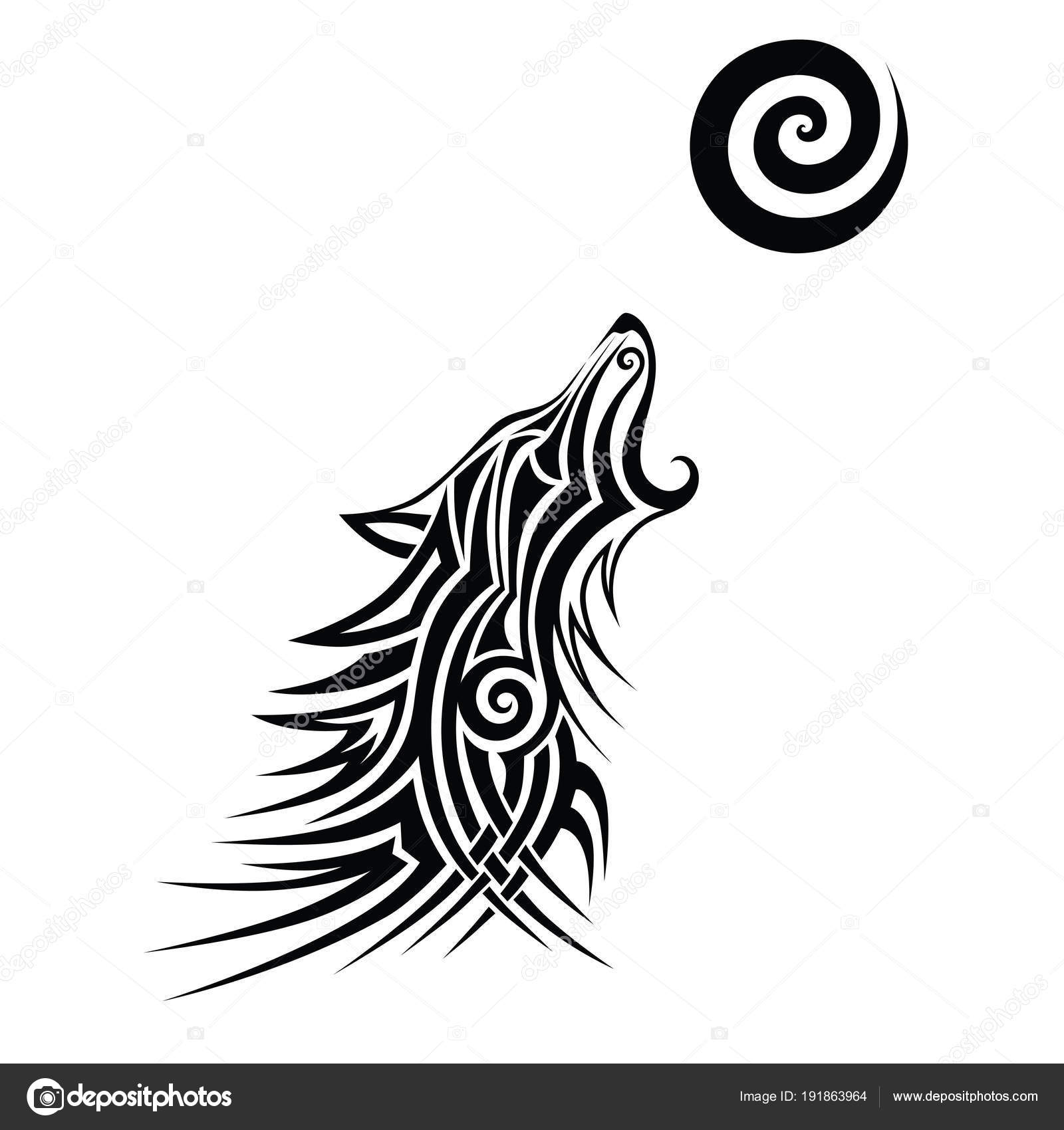Loup Tribal Tattoo Design Noir Vector Art Idée Sketch Isolé