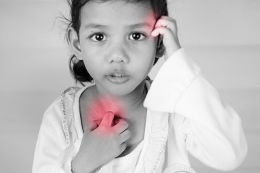 Health problem. young girl scratch the itch with hand ,neck, itching, Healthcare And Medicine Concept with red effect.