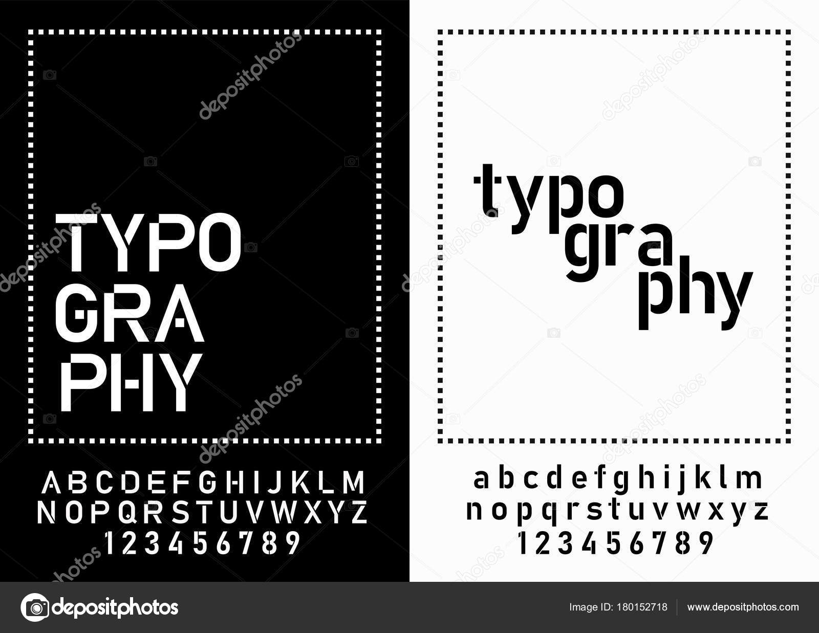 Modern Alphabet Fonts Numbers Designs Logo Poster Invitation Etc Typography Stock Vector
