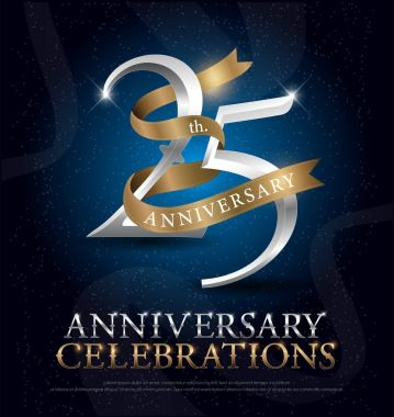 25th years anniversary celebration silver and gold logo with golden ribbon on dark blue background. vector illustrator.eps
